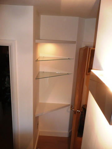 custom house corner glass shelves